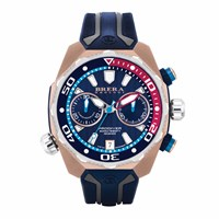 Brera Orologi Pro Diver Chronograph Watch Rose Gold And Blue Dial