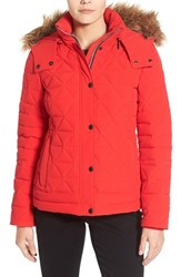 Marc New York Women's By Andrew 'Tess' Quilted Down Jacket With Removable Faux Fur Trim Hood Red