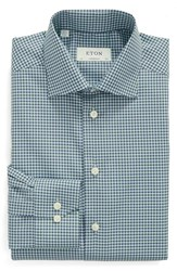 Eton Men's Big And Tall Contemporary Fit Check Dress Shirt Green