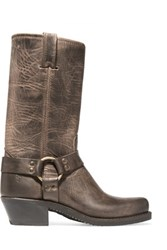 Frye Harness Distressed Leather Boots Brown