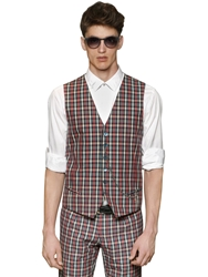 Royal Hem Plaid Cotton Vest Red Navy