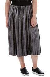 Elvi Plus Size Women's Metallic Faux Leather Pleat Skirt