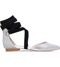 Carvela Lizzie Suedette Pointed Toe Flats Silver