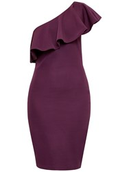 Ted Baker Judei One Shoulder Frill Dress Deep Purple