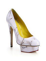 Charlotte Olympia Marble Print Dolly Leather Platform Pumps White Marble