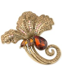 Carolee Gold Tone Stone And Crystal Flower Pin