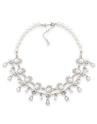 Carolee Faux Pearls Silvertone Statement Necklace