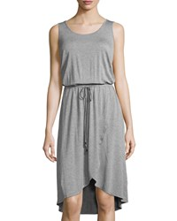 Neiman Marcus Active Wrap Skirt Drawstring Tank Dress Heather Gray