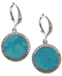 Judith Jack Silver Tone Turquoise And Crystal Drop Earrings Turquoise Silver