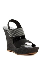 Italian Shoemakers Microstud Wedge Sandal Black