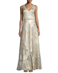 Theia Damask Sleeveless Gown Champ Gold
