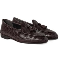 Rubinacci Woven Leather Loafers Dark Brown