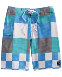 Rusty Gbah Checked 20' Board Shorts Bondi Blue