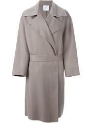 Agnona Double Breasted Belted Coat Grey