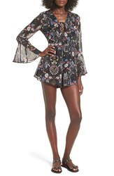 Lush Women's Lace Up Bell Sleeve Romper Black Floral