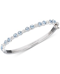 Givenchy Silver Tone Blue And Clear Crystal Hinged Bangle Bracelet