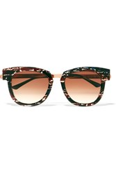 Thierry Lasry Mondanity Cat Eye Acetate And Rose Gold Tone Sunglasses Storm Blue