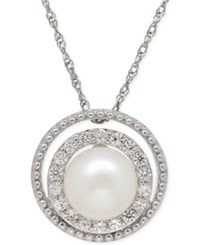 Macy's White Topaz 1 3 Ct. T.W. And Freshwater Pearl 8Mm Halo Pendant Necklace In Sterling Silver