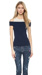 Chloe Sevigny For Opening Ceremony Veronica Ribbed Off Shoulder Top Navy