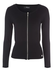 Jane Norman Zip Up Ribbed Cardigan Black