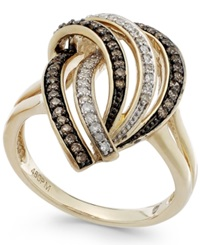 Macy's Wrapped In Love Brown 1 5 Ct. T.W. And White Diamond 1 8 Ct. T.W. Swirl Ring In 14K Gold