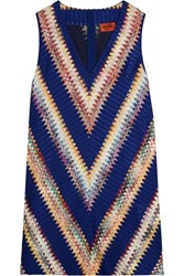 Missoni Crochet Knit Mini Dress Blue