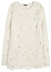 R 13 Shredded Distressed Chunky Knit Jumper Cream