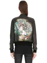 Php Hand Painted Leather Bomber Jacket