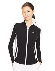 Lauren Ralph Lauren Color Blocked Full Zip Jacket Black White