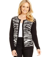 August Silk Colorblocked Zebra Print Cardigan Black White