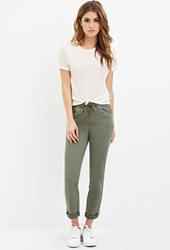 Forever 21 Cuffed Drawstring Pants Olive