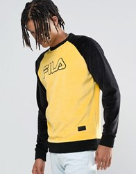 Fila Vintage Black Velour Sweatshirt Yellow