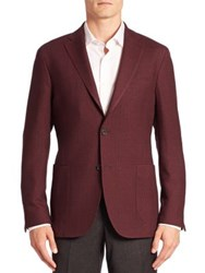Saks Fifth Avenue Plaid Wool Suit Jacket Dark Red