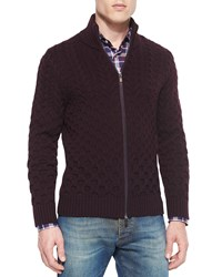 Etro Wool Cable Knit Full Zip Cardigan Burgundy