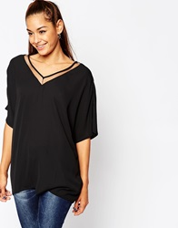 Asos V Neck Tee With Mesh Insert Black