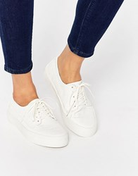 Asos Drummer Snake Lace Up Trainers White