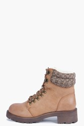 Boohoo Contrast Knit Lace Up Hiker Boot Tan