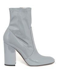Valentino Block Heel Patent Leather Ankle Boots Grey