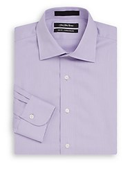 Saks Fifth Avenue Slim Fit Striped Cotton Dress Shirt Purple