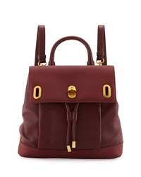 Badgley Mischka Anne Flap Top Leather Backpack Tomato