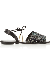 Desert Printed Silk Crepe And Leather Sandals The Outnet