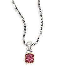 Effy 925 Ruby Sterling Silver And 18K Yellow Gold Pendant Necklace Red Silver