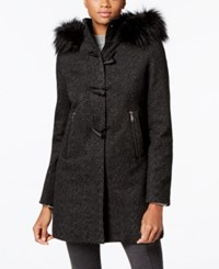 Nautica Faux Fur Trim Toggle Front Coat Black Herringbone