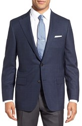 Hickey Freeman Men's 'Beacon' Classic Fit Windowpane Wool Sport Coat Navy