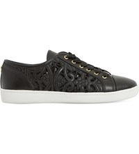 Dune Elley Laser Cut Leather Trainers Black Leather