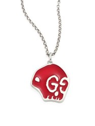 Guccighost Sterling Silver Skull Pendant Red