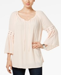 Styleandco. Style Co. Lace Up Trim Peasant Top Only At Macy's Crushed Petal