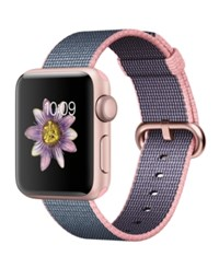 Apple Watch Series 2 38Mm Rose Gold Aluminum Case With Light Pink Midnight Blue Woven Nylon Band