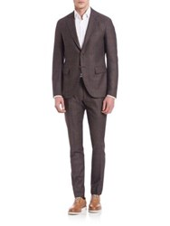 Eleventy Wool And Silk Button Front Suit Brown