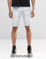 Liquor And Poker Slim Distressed Denim Shorts Bleach Wash Bleach Wash Blue